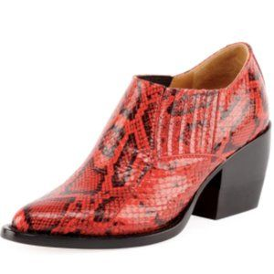 CHLOE RYLEE PYTHON EMBOSSED RED ANKLE BOOTIE